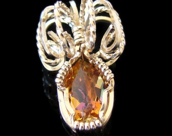 Stunning Citrine Pendant set in 14K Rolled Gold.