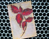 Original Botanical Painting on Antique Book - Red Birch