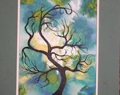 Abstract windblown tree, Original painting,Winter  tree painting