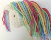 Earth Pony, Waldorf Toy, Stuffed Animal Horse, Eco Kids Toy, HandKnit, All Natural Childrens Toy