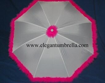34 Inch Hot Pink Feather Boa Umbrella