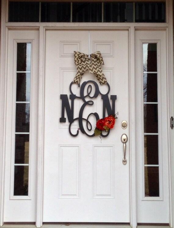 Custom Monogram Door Wreath Indoor Wall Hanging Burlap