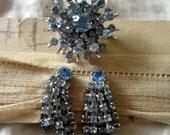 Blue Rhinestone Snowflake Pin Matching Earrings