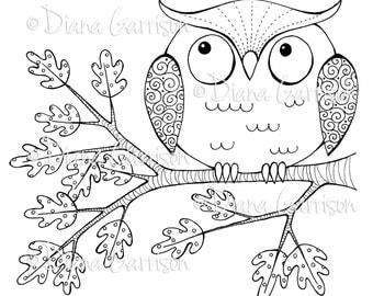 Whimsical Owl Digi Digital Stamp