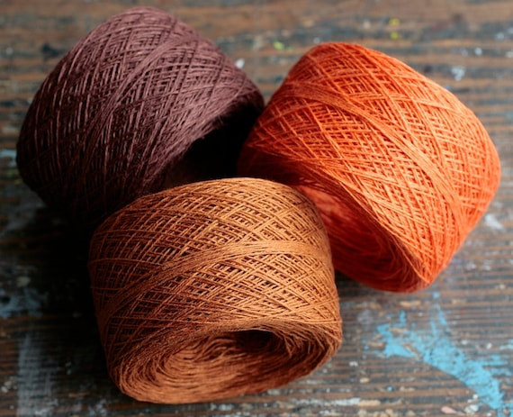 Linen yarn thread -- three balls -- tan, brown, orange