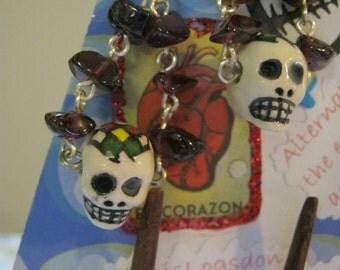 Garnet And Ceramic Skull Earrings