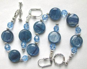 Genuine Kyanite Blue Bracelet and Earring Set