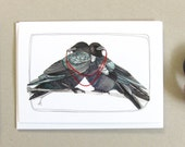 Greeting Card - Blank Card - Wedding Card - Anniversary Card- Valentines Day Card - Crow Card - Crow Illustration - Two Crows Card