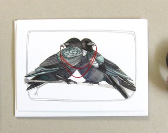 Greeting Card - Crow Card - Love Card - Blank Card - Wedding Card - Anniversary Card - Crow Card - Crow Illustration - Two Crows Card