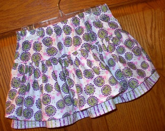 Layered Skirt ~ Pink Lavender Lime Adorable Snails Print ~ size 2/3T ~ Ready to Ship