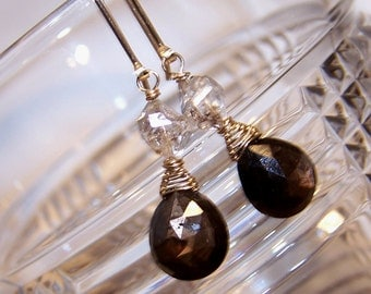 Natural Chocolate Sapphire, Herkimer  Diamond, 14k gold fill  hook style earwire