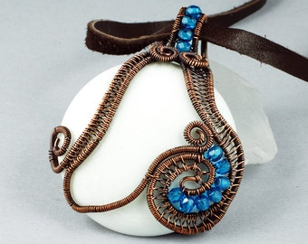 White Mountain Jade, Blue Glass and Copper Necklace