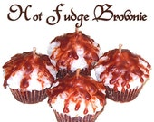4 Hot Fudge Brownie Cupcake Candle Minis Chocolate Scent Votive