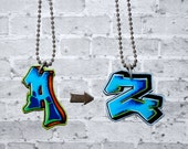 Custom Graffiti Initial Necklace by beebles