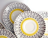 Mid Century Scandinavian Saucers // Rörstrand of Sweden // Black & Yellow