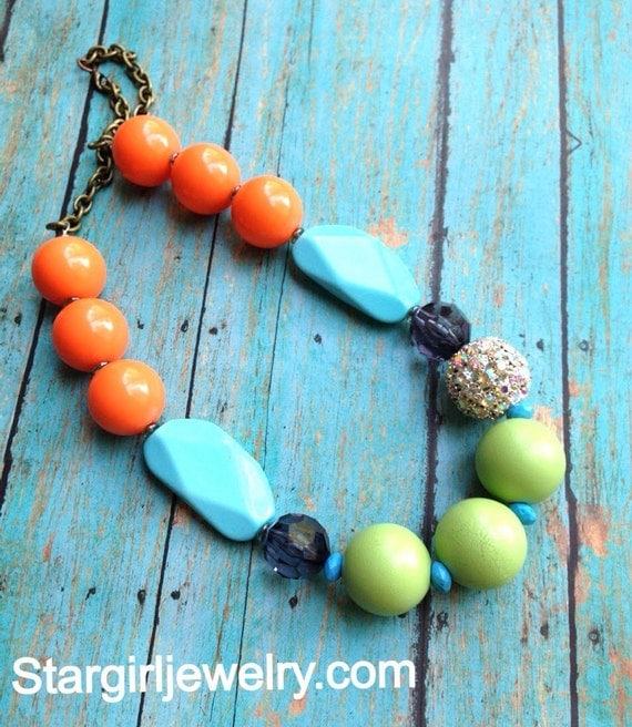 Color blocked boho- wood, lucite, acrylic, rhinestone necklace