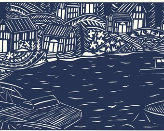 in the harbor matte archival print