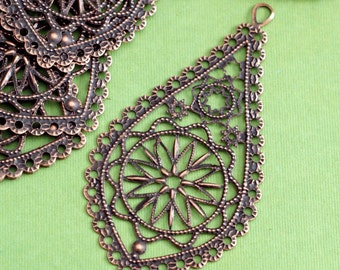 20pcs 66mm Antique Copper Drop Filigree Pendants R0168-R