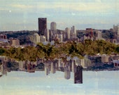 symmetry skyline: surreal photography. fine art photography. pittsburgh skyline art. urban art print. multiple exposure photo. sky photo.