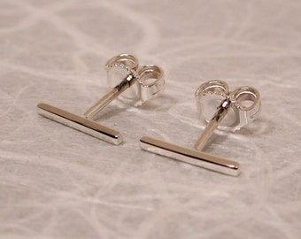 10mm x 1mm Simple Silver Earrings Straight Stud Earrings Skinny Thin Bar Earrings Sterling Silver Minimal Jewelry by SARANTOS
