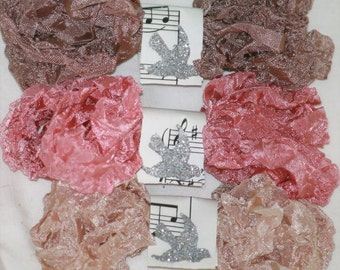 FLORA , Seam Binding Ribbon , Crinkled Ribbon , Rosey , Beige , Pink , 18 Yards