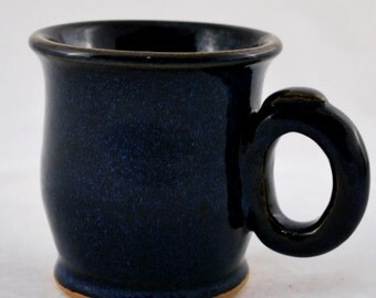 Cobalt Blue Mug with Thumb Rest Stoneware Clay Pottery