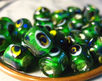 8x6mm Green Dotted Tube Beads Glass Beads