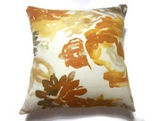 Decorative Pillow Cover Yellow Gold Orange Taupe Brown White Same Fabric Front/Back Toss Throw Accent Cover 18x18 inch x