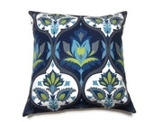 Two Navy Blue Turquoise Chartreuse Gray Pillow Covers Damask Design Toss Throw Accent Covers 18 inch pair
