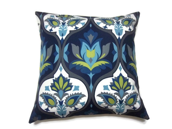 Two Navy Blue Turquoise Chartreuse Gray Pillow Covers Damask
