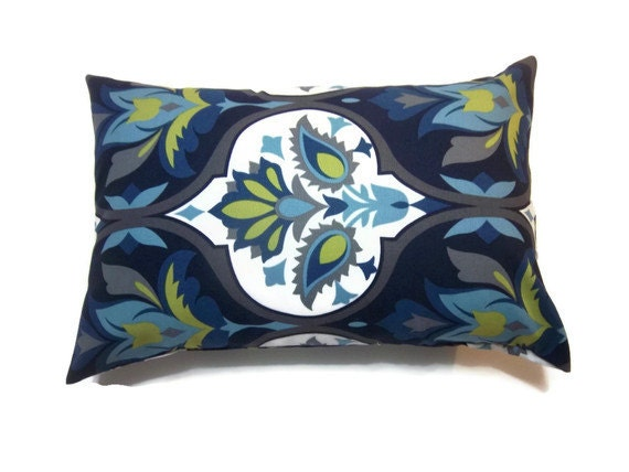 One Navy Blue Turquoise Chartreuse Gray Lumbar Pillow Cover