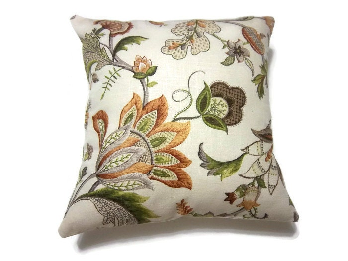 RESERVED Decorative Pillow Cover Olive Green Orange Rust Brown
