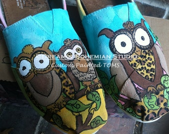 Custom Shoes Painted Owl TOMS for Woodland Wedding Bridal Party, Turquoise and Brown Flats, Nature or Bird Lover Gift, Present for Women