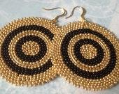 Beadwork Disk Earrings - Big Bold Black and Gold Goddess Seed Bead Earrings - Beaded Jewelry