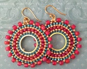 Beaded Small Hoop Earrings Aqua Berries  Red and Aqua  Seed Bead Earrings Beadwork Jewelry