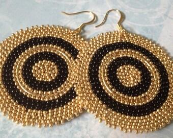 Beaded Disk Earrings - Big Bold Black and Gold Goddess Seed Bead Earrings - Beaded Jewelry