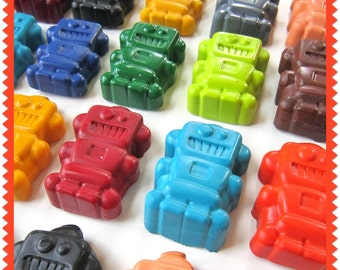 KIDS' ROBOT CRAYONS - Party Pack of 20 Favors - Eco-Friendly Children's Toys, For Boys and Girls - In Assorted Colors