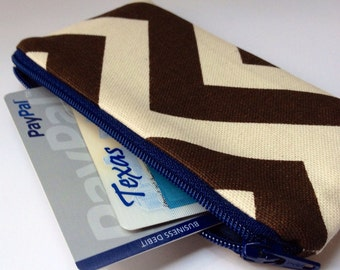 Zippered Coin Purse Wallet - Fabric Business Card Holder - Brown Chevron Stripes