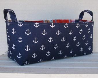 Long Diaper Caddy - Storage Container Basket Fabric Organizer Bin - White Anchors on Navy Blue - Nautical - Beach Theme