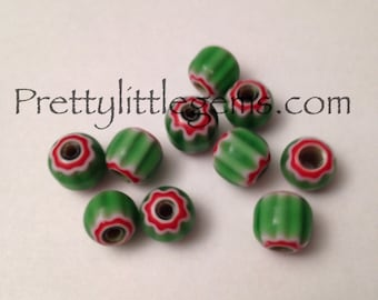 Glass Watermelon Beads 8mm lot of 10