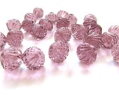 Light Amethyst Purple Fluted Bicone Glass Beads, 9mm - 25 pieces