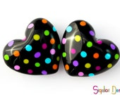 Valentines day Hearts - 2 Handmade polymer clay beads - Fluffy hearts - colorful dotted heart beads