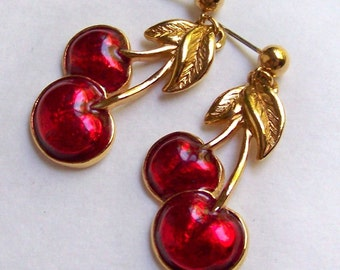 SJKVintage -- Avon Signed Enamel Cherries Pierced Earrings (1980's)
