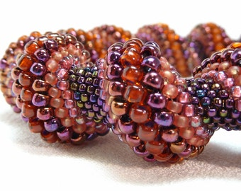 Persian Carpet Beadwoven Cellini Spiral Bangle Bracelet