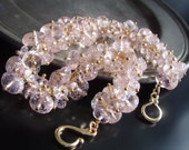 CUSTOM Made to Order - Pink Morganite Bracelet with Solid 14k Gold Clasp