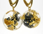 Gold Earrings, 24K Gold Leaves and Carborundum Earrings, Resin Earrings Real 24K Gold Leaves and Black Mineral with Gold Plated Earrings