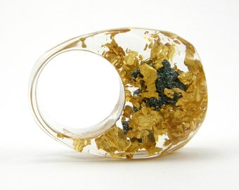 Gold 24K and Carborundum Ring, Unique Clear Resin Ring with Natural Mineral and Real 24K Gold Leaves, Fashion Ring