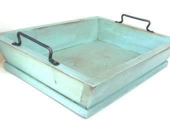 Rustic Wood Tray, Serving Tray, Breakfast in Bed, Decorative Tray, Ottoman Tray Robin Blue, Custom