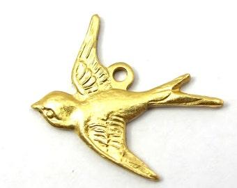 Brass Sparrow Bird Charms - Left Facing (4X) (V184)