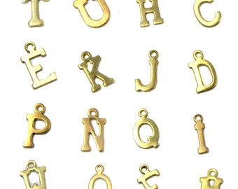 Raw Brass Alphabet Charms - all 26 letters (A601)